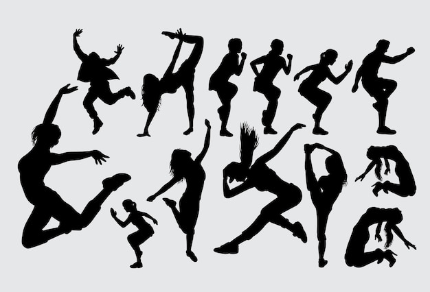 Bailando deporte femenino y masculino silueta