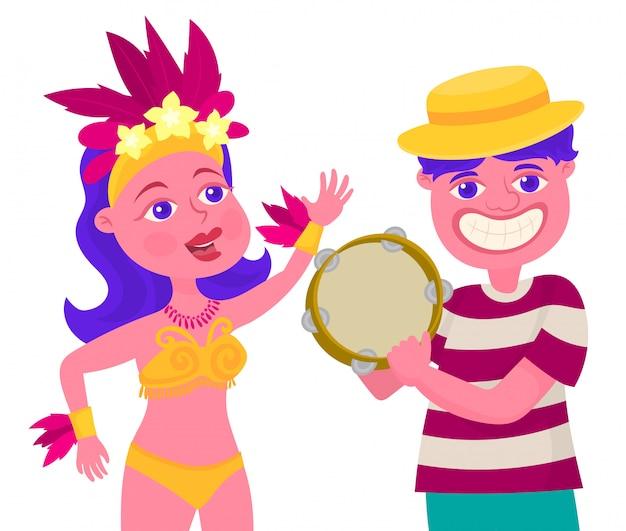 Bailando en fiesta de carnaval con pandereta