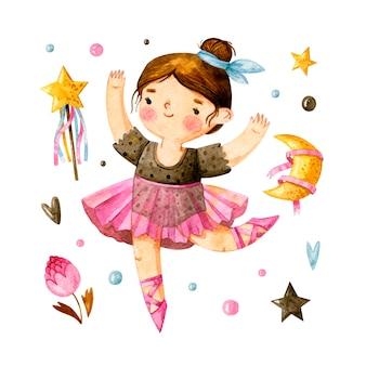 Bailarina de acuarela con lindos elementos de niña