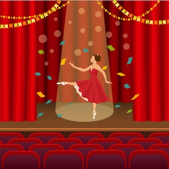 Bailarina bailando en la escena de la ilustración del teatro.