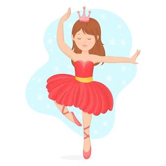Bailarina bailando en vestido de navidad
