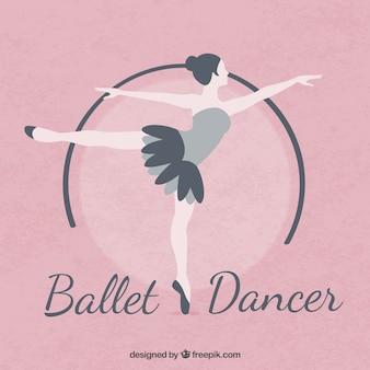 Bailarina de ballet en diseño plano