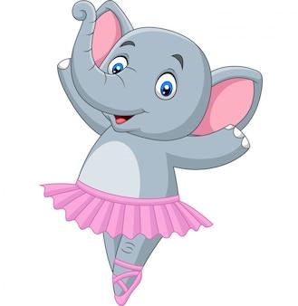 Bailarina de ballet de elefante de dibujos animados