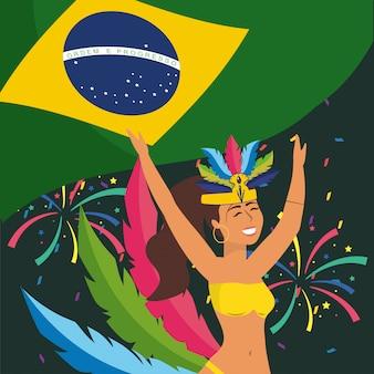Bailarina con bandera de brasil y fuegos artificiales.