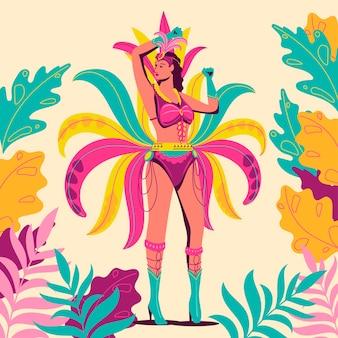 Bailarina de carnaval brasileño exótico con follaje tropical