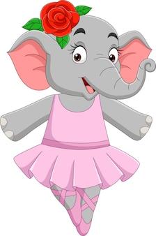Bailarina de elefante divertido de dibujos animados en un tutú