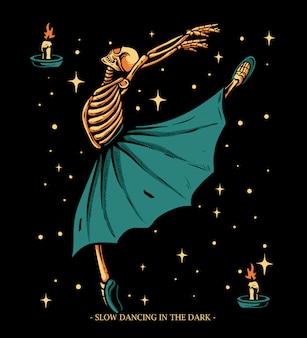 Bailarina esqueleto bailando con la ilustración de la luz de las velas