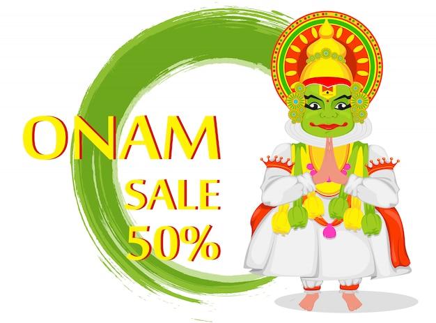 Bailarina de kathakali feliz festival de onam