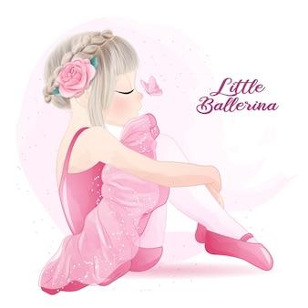 Bailarina linda chica con ilustración acuarela