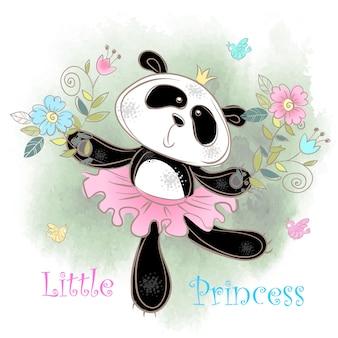 Bailarina de la panda linda bailando. pequeña princesa.