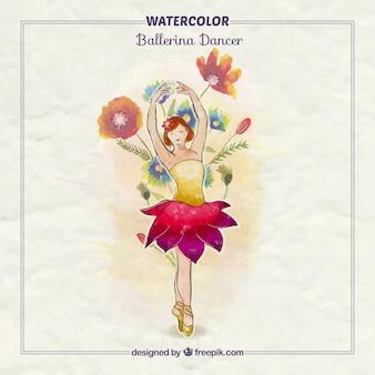 Bailarina pintada a mano con flores