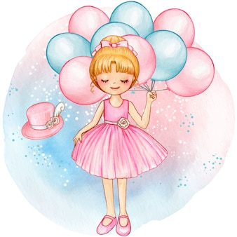 Bailarina princesa acuarela con globos rosas