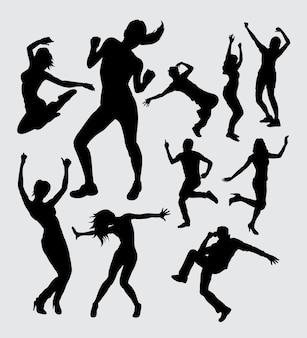 Bailarina silueta de gesto de acción masculina y femenina