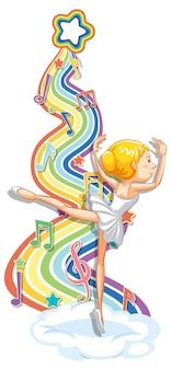 Bailarina con símbolos de melodía en la onda del arco iris