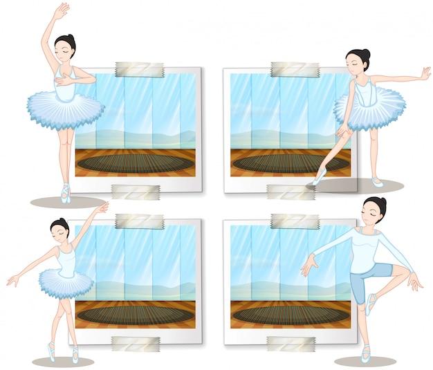 Bailarines de ballet bailando y estirando.