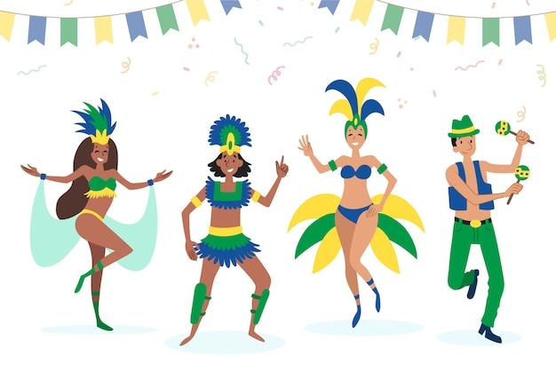 Bailarines de carnaval brasileños en trajes tradicionales