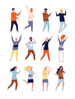 Bailarines felices fiesta gente feliz club nocturno multitud bailarines colección de personajes estilizados