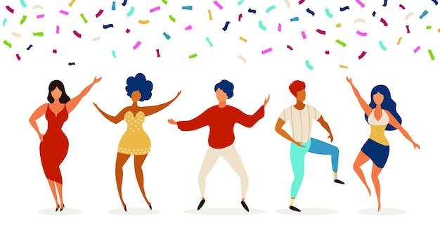 Bailarines grupo de jóvenes bailando en el club. fiesta de celebración con confeti. adolescentes felices bailan, saltan juntos. personajes divertidos del vector. ilustración grupo de jóvenes en club