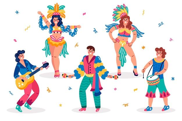Bailarines y ropa tradicional brasileña