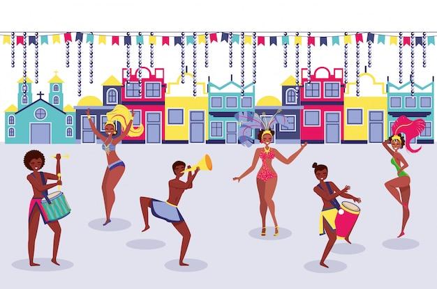 Bailarines de samba en el pueblo. vector