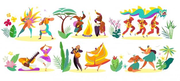 Bailarines en trajes tradicionales de diferentes culturas, ilustración