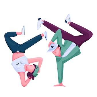 Bailarines urbanos color personaje sin rostro.