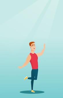 Baile caucásico alegre del bailarín del hombre.