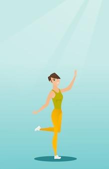 Baile caucásico alegre del bailarín de la mujer.