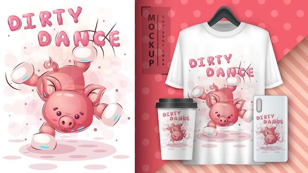 Baile de cerdo - cartel y merchandising.