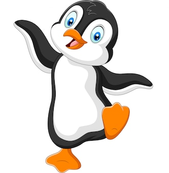 Baile de dibujos animados lindo pingüino