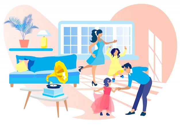 Baile familiar en casa escuchando música de gramófono.