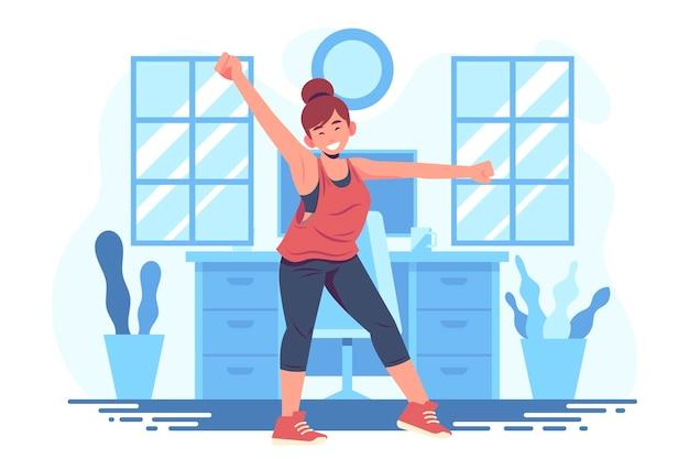 Baile fitness en casa ilustrado