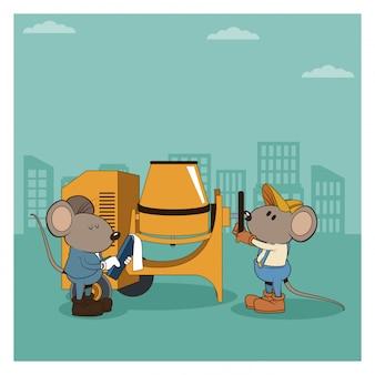 Bajo construcción mouses caricaturas de los trabajadores