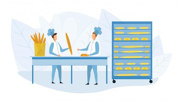 Bakehouse interior y panaderos en uniforme de dibujos animados