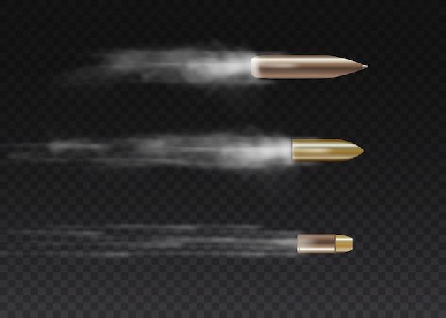 Bala voladora realista en movimiento. disparos, bala en movimiento, rastros de humo militar. rastros de humo aislados sobre fondo transparente. pistola disparar senderos.