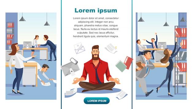 Balance en multitask office work vector web banner
