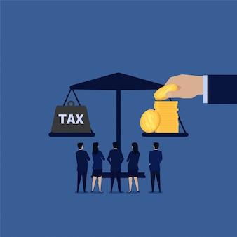 Balance de negocios entre ingresos e impuestos.