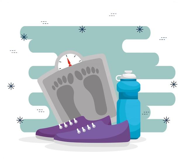 Balanza con botella de agua y zapatos.