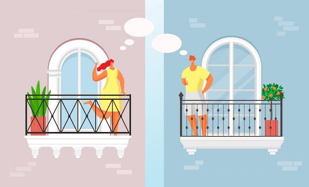 Balcón gente habla en casa ilustración de ocio. pareja joven y sonriente se comunica en cuarentena, vecindario feliz. mujer hombre aislamiento estilo de vida, concepto de comunicación de ventana.