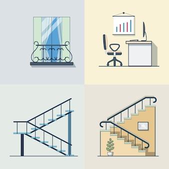 Balcón oficina lugar de trabajo escalera esquema lineal arquitectura edificio conjunto de elementos. iconos de estilo plano de contorno de trazo lineal. colección de iconos de color.