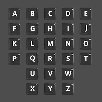 Baldosas de plástico del alfabeto para juegos de palabras desconcertantes. elemento de rompecabezas, botón gráfico.