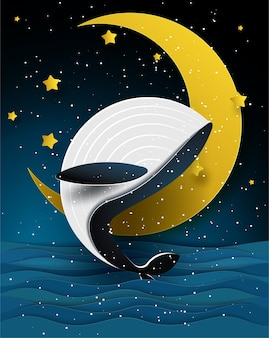 Ballena azul y la luna en el hermoso paisaje marino en la noche, el arte de papel y el estilo de artesanía.