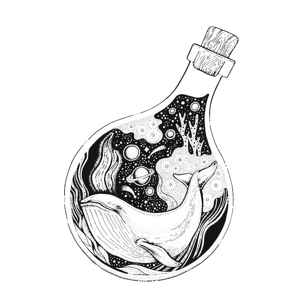 Ballena en la botella arte de línea negra. boceto de estilo vintage para estampado de camiseta o tatuaje.