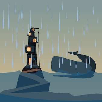 Ballena y casa en ilustración vectorial de océano