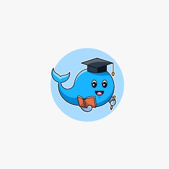 Ballena mascota de dibujos animados lindo.
