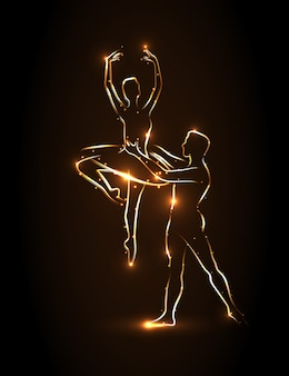 Ballet. la bailarina y el bailarín sostiene la cintura de su compañero durante un salto, realizan pas. bailarines de silueta abstracta con contorno dorado sobre un fondo marrón. bailarina de pareja levantada en sus brazos.