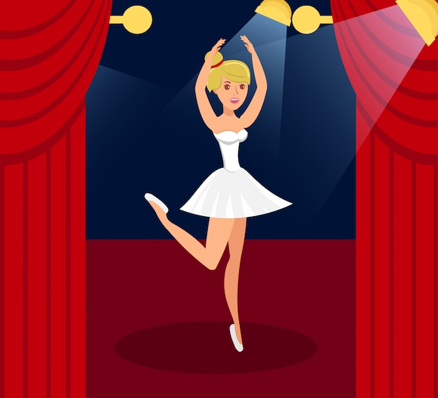 Ballet performance flat color vector illustration