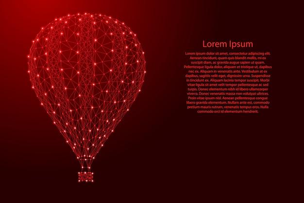 Balón de aire para volar en el cielo desde líneas rojas poligonales futuristas