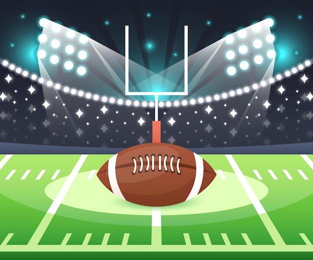 Balón de fútbol americano en el estadio