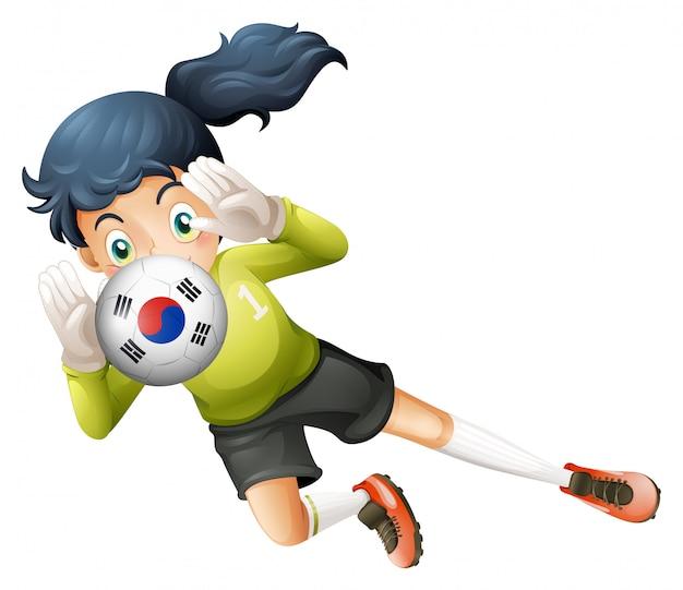 Un balón de fútbol con la bandera de corea del sur.